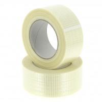 Versterkt /onscheurbaar verpakkingstape kruisgewijs - wit - 50M x 50mm